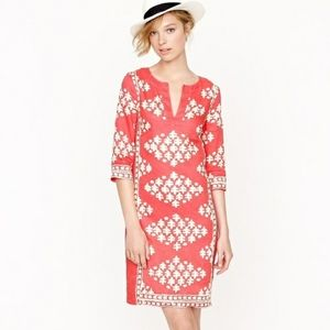 J. Crew Linen Java Tunic Dress in Coral Pink